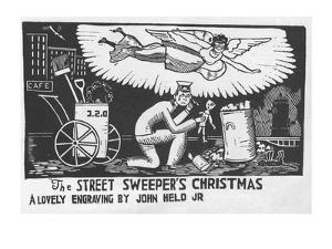 Angel over the head of street sweeper's head as he finds a doll in the trash. - New Yorker Cartoon by Jr. John Held