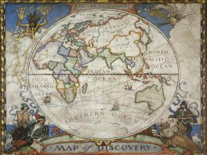A Map of the Eastern Hemisphere Depicting Famous Explorers Routes Painted in 1927 by Jr Victor R. Boswell