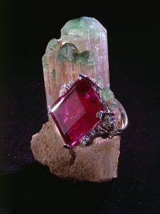 Tourmaline Resting on a Crystal by Jr Victor R. Boswell