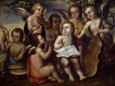 Baby Jesus with Angels Playing Musical Instruments, 17th Century