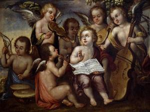 Baby Jesus with Angels Playing Musical Instruments, 17th Century by Juan Correa
