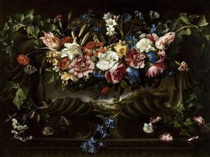 Garland of Flowers with Landscape, 1652 by Juan De Arellano