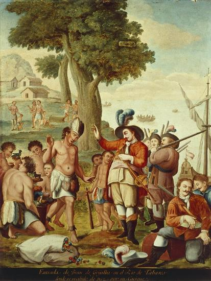 Juan De Grijalva Disembarks in the Province of Tabasco and Is Greeted by a Cacique Indian Chief--Giclee Print
