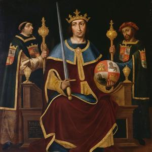 Saint Ferdinand Enthroned with Two Courtiers by Juan De juanes
