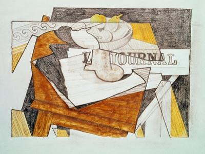 Still Life with a Newspaper and a Wooden Table, c.1918 by Juan Gris
