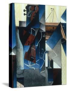 Violon et gravure accrochee (Violin and print), 1913 by Juan Gris