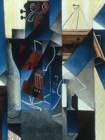 Violon et gravure accrochee (Violin and print), 1913 by Juan Gris