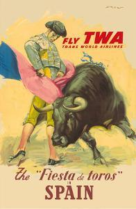 The La Fiesta del Toros (The Festival of the Bulls) in Spain - Trans World Airways Fly TWA by Juan Reus