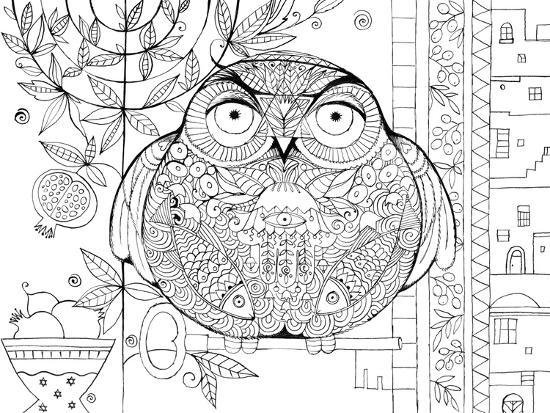 Judaica Folk Owl - Outline-Oxana Zaika-Giclee Print