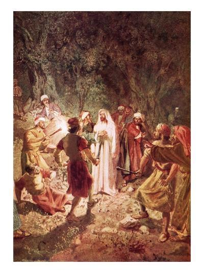 Judas Betraying Jesus with a Kiss, in the Garden of Gethsemane-William Brassey Hole-Giclee Print