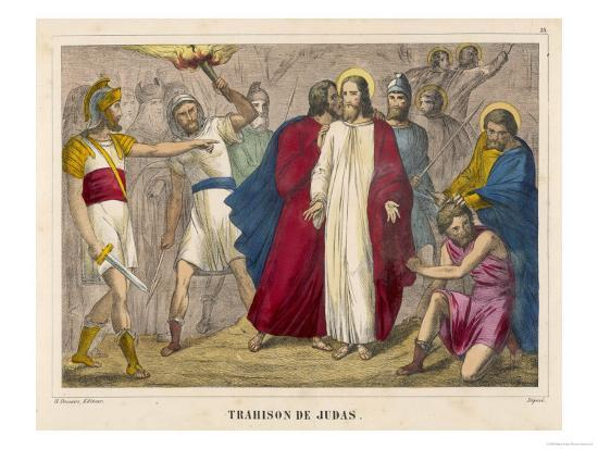 Judas Identifies Jesus to the Soldiers by Kissing Him Whereupon They Arrest Him--Giclee Print