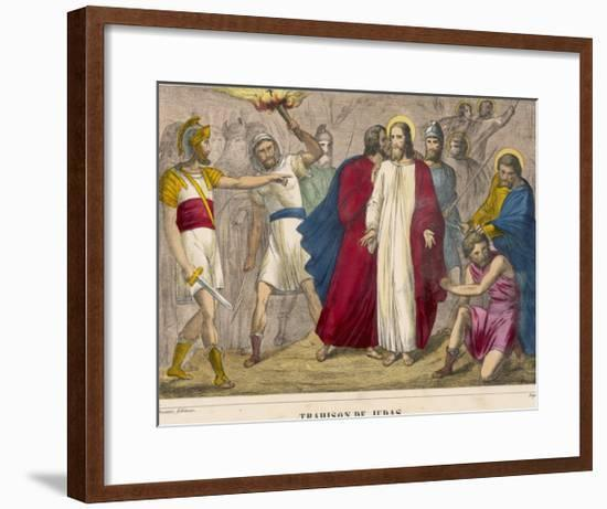 Judas Identifies Jesus to the Soldiers by Kissing Him Whereupon They Arrest Him--Framed Giclee Print