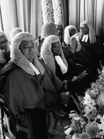 Judges Waiting to Meet Queen Elizabeth II-James Burke-Photographic Print