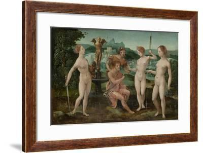 Judgment of Paris-Meester van de Vrouwelijke Halffiguren-Framed Art Print