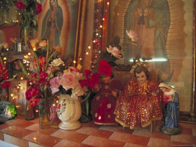 Altar with Candles, Flowers, and Spiritual Imagery for the Day of the Dead Celebration, Mexico