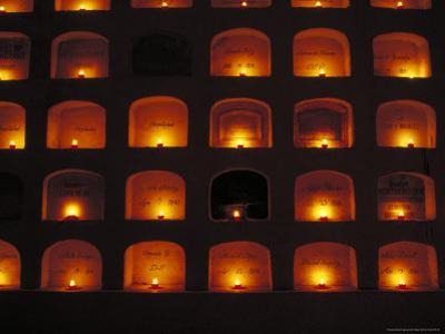 Candles Light the Graves of Niches in the Cemetary, Oaxaca, Mexico