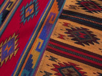 Colorful Hand-Woven Carpet, Oaxaca, Mexico