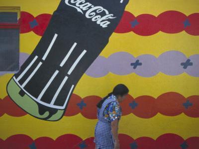 Local Woman Walks Past an Advertisement, Oaxaca, Mexico