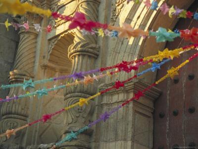 Templo de San Felipe de Neri with Garlands for Dia de la Revolucion, Oaxaca, Mexico
