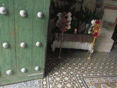 Wooden Doors and Colonial Architecture Lead to the Tiled Foyer, Church at Mitla, Oaxaca, Mexico
