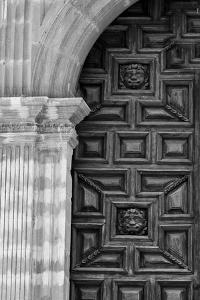 Mexico, Black and White Image of Carved Church Dorr, Guanajuato, Mexico by Judith Zimmerman