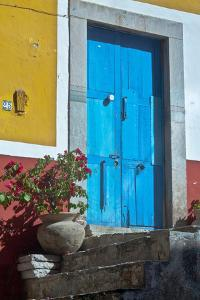 Mexico, Guanajuato the Colorful Homes and Buildings, Blue Front Door with Plant on Steps by Judith Zimmerman