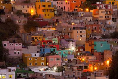 Mexico, Guanajuato. the Colorful Homes and Buildings of Guanajuato at Night