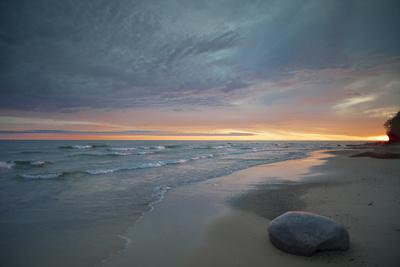 Michigan. Solitary Boulder on a Beach of Lake Superior, Pictured Rocks National Lakeshore