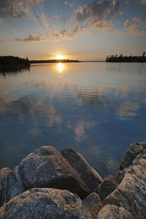 Minnesota, Voyageurs National Park. Sunset on Kabetogama Lake, Voyageurs National Park