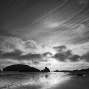 Oregon, Harris Beach State Park. Black and White Image of Sunset at Ocean Low Tide by Judith Zimmerman