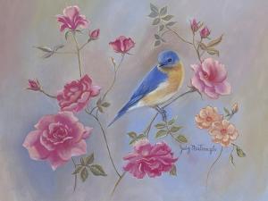 Blue Bird in Roses by Judy Mastrangelo