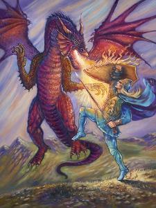 Blue Knight and Dragon by Judy Mastrangelo