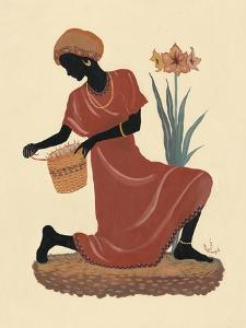 Kneeling Left Weaving Basket - Orange Dress by Judy Mastrangelo