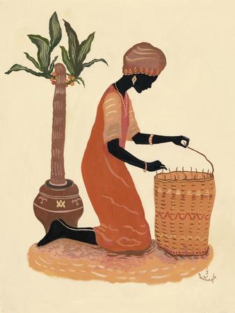 Kneeling Right Weaving Basket - Orange Dress