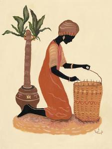 Kneeling Right Weaving Basket - Orange Dress by Judy Mastrangelo