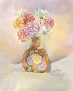 Vase of Mums by Judy Mastrangelo