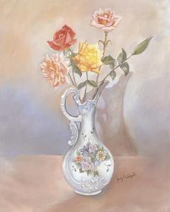 Vase of Roses by Judy Mastrangelo