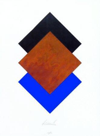 Quadrate Schwarz Rost Blau