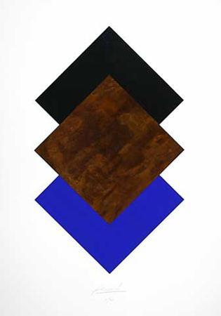 Quadrate Schwarz, Rost, Blau