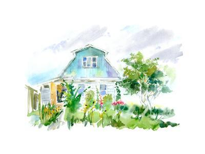 Country House, Apple Tree and Garden. Flower Garden Sketch.Watercolor Hand Drawn Illustration.White