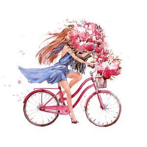 Girl on Bike. Bicycle. Bike. Peony. Peonies. this Picture Can Be Used as a Background , an Independ by JulAndersen