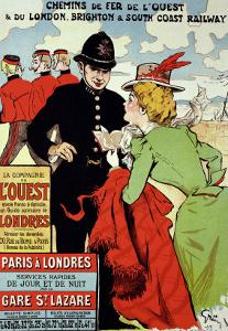 Reproduction of a Poster Advertising Trains from Paris to London, 1899 by Jules-Alexandre Grün