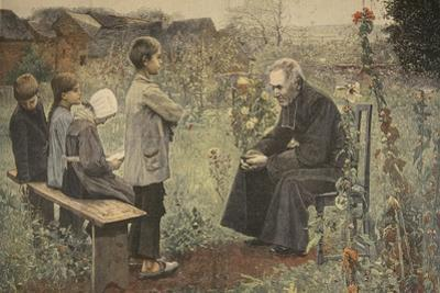 Priest Teaching Children the Catechism, Illustration from 'Le Petit Journal: Supplement… by Jules-Alexis Meunier