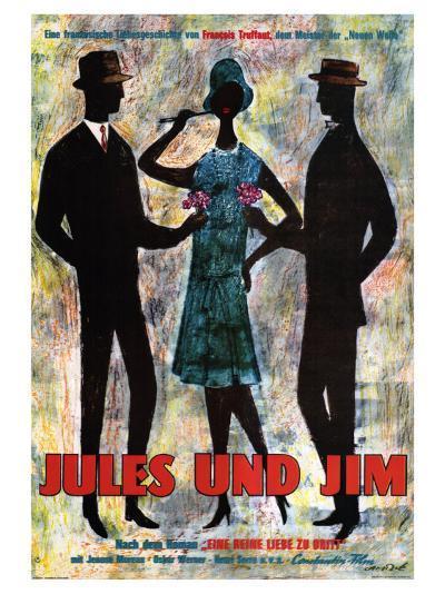 Jules and Jim, German Movie Poster, 1961--Art Print
