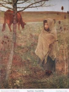 France, Small; Girl; Fauvette; Cow; Rural; Poor; Clothing by Jules Bastien-Lepage