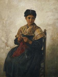 A Girl Knitting, 1873 by Jules Breton