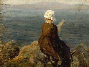 La fileuse, baie de Douarnenez by Jules Breton