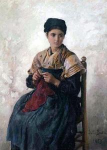 Peasant Girl Knitting, 1873 by Jules Breton