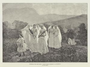 Pictures at the Paris Salon, Jeunes Filles Se Rendant a La Procession by Jules Breton