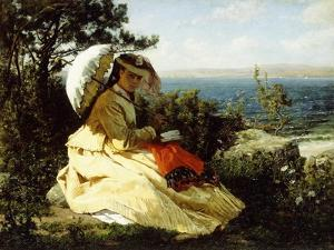 The Woman with the Parasol; Bay of Douarnenez, 1871 by Jules Breton